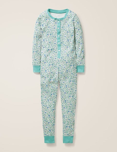 Cosy All-In-One Pajamas - Ivory Ditsy Floral
