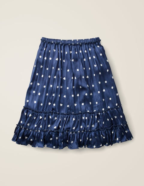 Printed Ruffle Midi Skirt - College Blue/Ivory Heart Spot