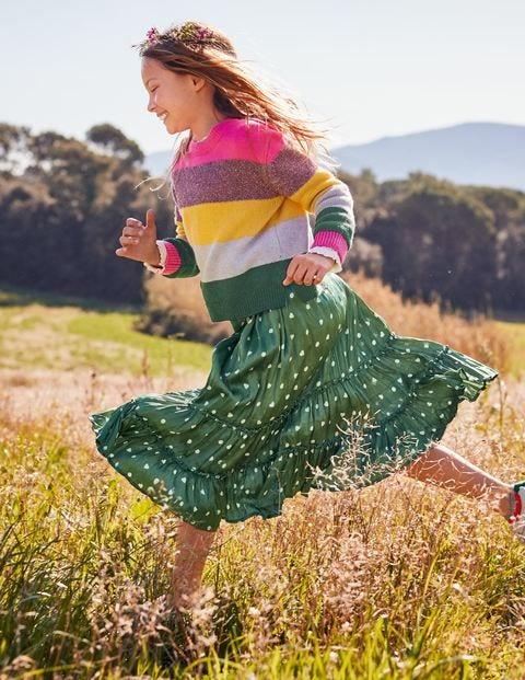 Printed Ruffle Midi Skirt - Bean Green/Ivory Heart Spot