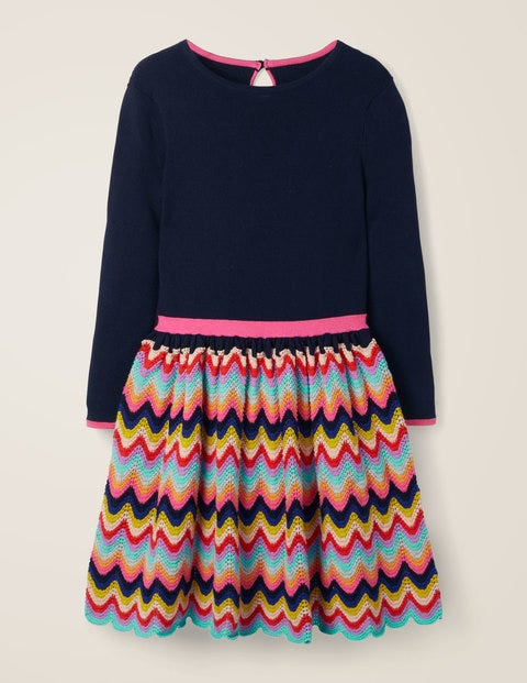 Rainbow Knitted Dress - School Navy Rainbow
