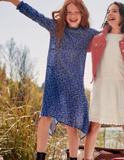 Hanky Hem Midi Dress - Starboard Blue Daisy Vine