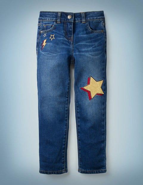Jeans mit Blitzmotiv - Mittleres Vintageblau