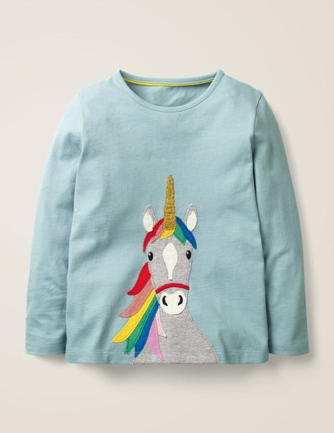T-Shirt mit Einhorn-Applikation