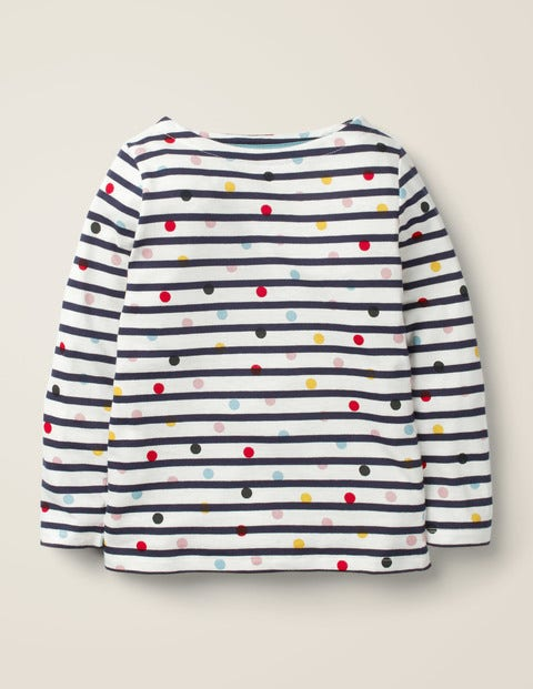 Lightweight Breton - Ivory/Navy Multi Dot