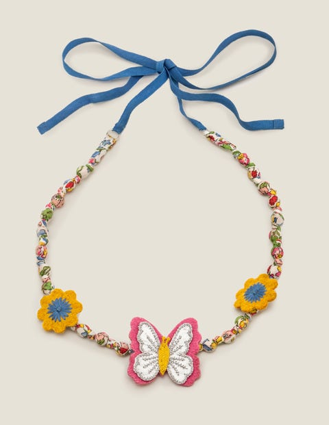 Fabric Necklace - Chalky Pink Butterfly