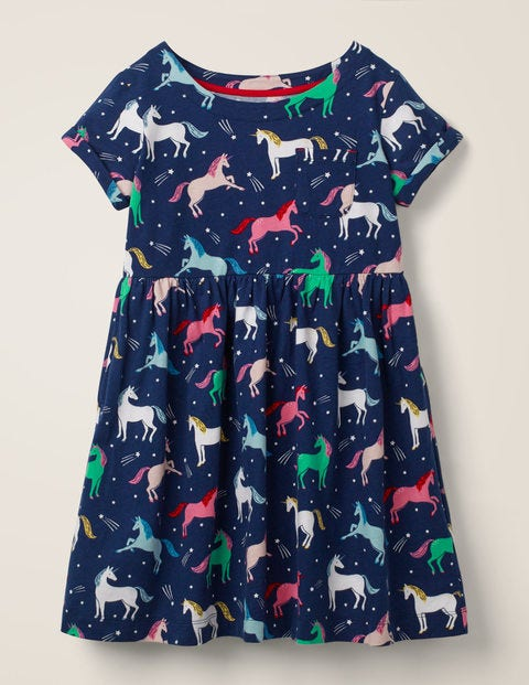 Fun Jersey Dress - College Blue Unicorns