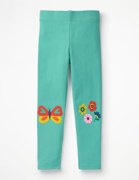 Appliqué Leggings - Sea Breeze Green Flowers