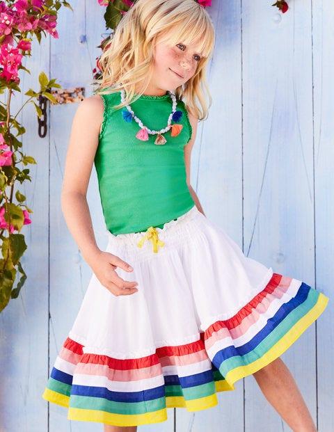 Twirly Skirt - White/Rainbow
