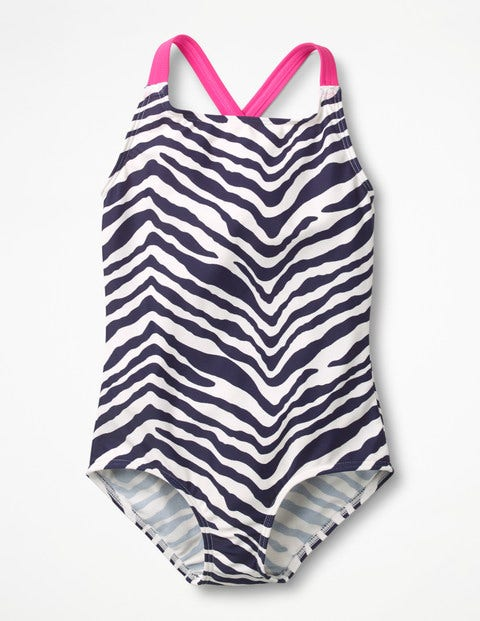 Cross-Back Swimsuit - Navy Zebra