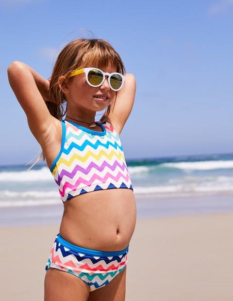 Gemusterte Bikinihose - Regenbogen, Zickzackmuster