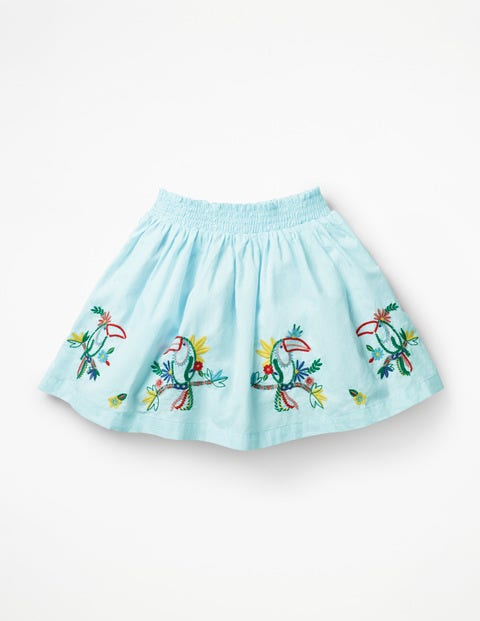 Bright Embellished Skirt - Pale Blue Toucans