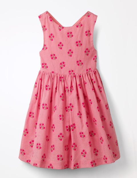 Cross-Back Printed Dress - Flamingo Pink Floral