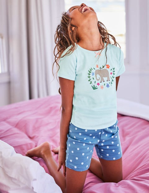 Fun Short John Pyjamas - Lake Blue Elephant