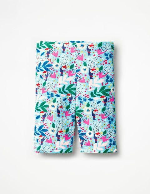 Jersey Knee Shorts - Blue Quartz Toucan Garden