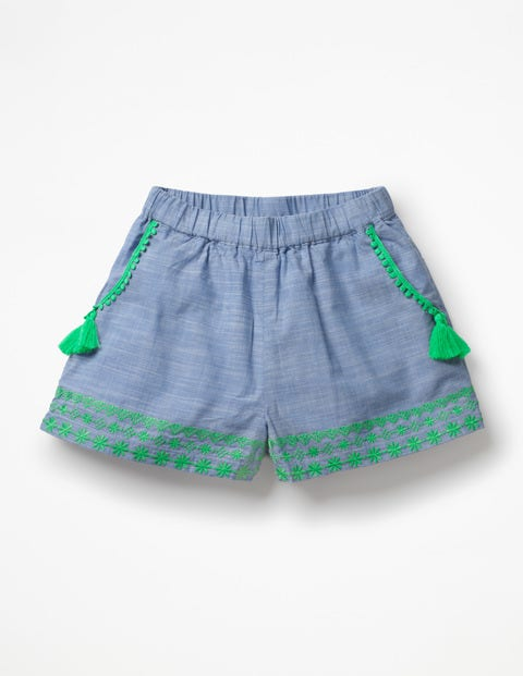 Tassel Detail Shorts - Chambray
