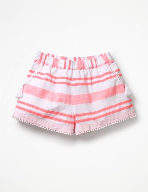 Tassel Detail Shorts - Fluoro Pink Stripe