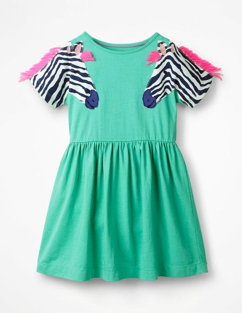 Wildlife Appliqué Sleeve Dress - Jungle Green Zebra