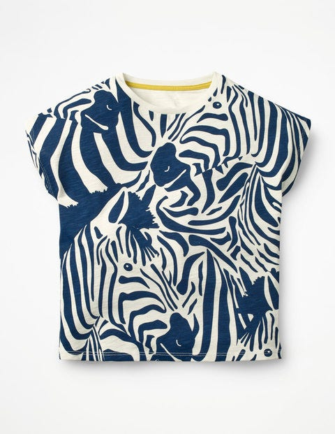 Camouflage Zebra T-Shirt - College Blue Zebra
