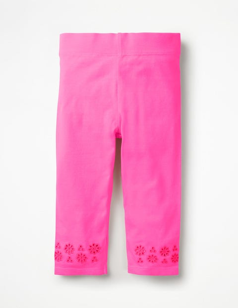 Broderie Cropped Leggings - Bright Flamingo Pink