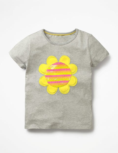 Fluttery Colour-Change T-Shirt - Grey Marl Sunshine