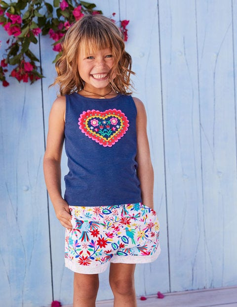 Heart Appliqué Vest - Blue Wave