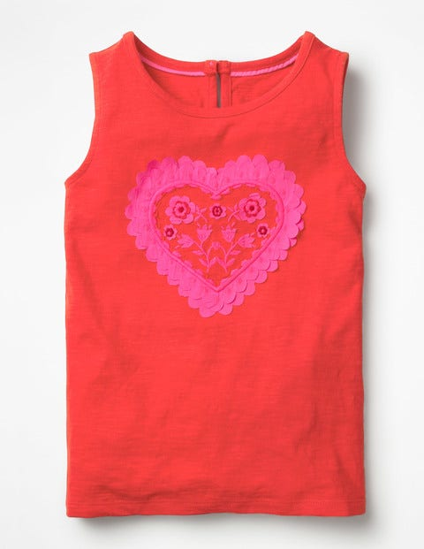 Heart Applique Tank - Strawberry Tart Red