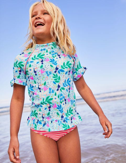 Ruffle Short-Sleeved Surf Set - Blue Quartz Toucan Garden