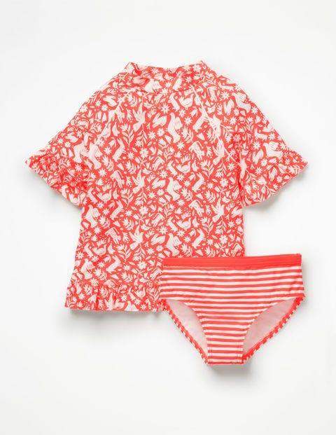 Ruffle Short-sleeved Surf Set - Neon Orange Folk Friends