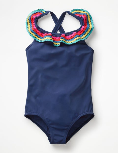 Colourful Frill Swimsuit - Deep Sea Blue/Rainbow