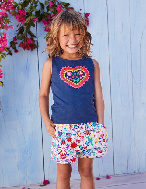 Colourful Woven Shorts - Multi Carnival Birds
