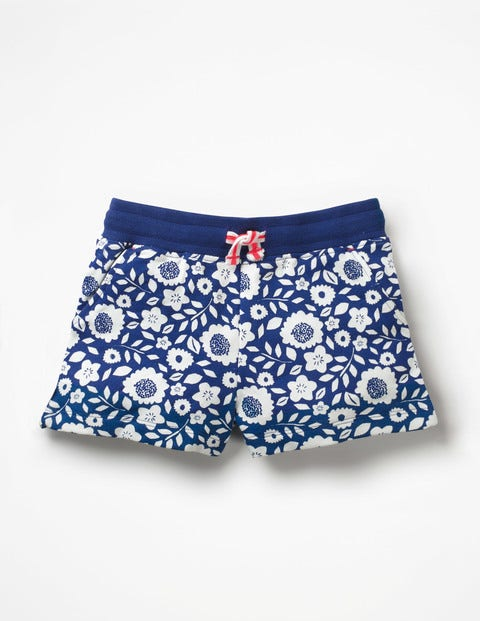 Printed Jersey Shorts - Blue Wave Vines