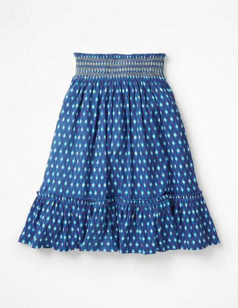 Smocked Midi Skirt - Blue Wave Ikat