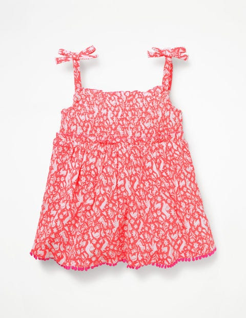 Fun Strappy Smocked Top - Flamingo Pink Folk Friends
