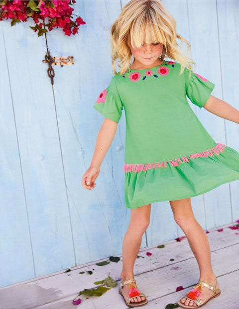 Tropical Woven Appliqué Dress   Parrot Green by Boden