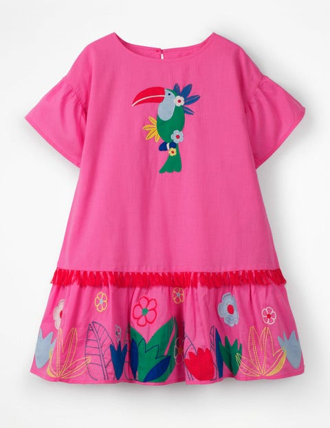 Tropical Woven Appliqué Dress - Festival Pink
