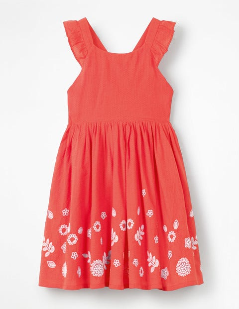 Embroidered Cross-Back Dress - Strawberry Tart Red