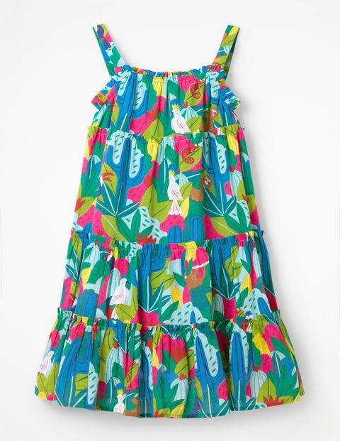 Twirly Woven Dress - Multi Tropical Jungle
