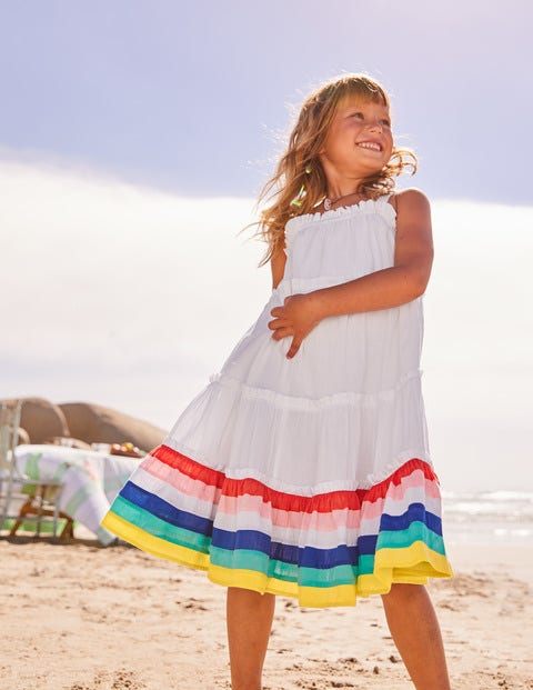 Twirly Woven Dress - White/Rainbow Stripes