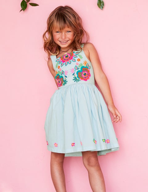 Bright Embroidered Dress - Ocean Spray Blue