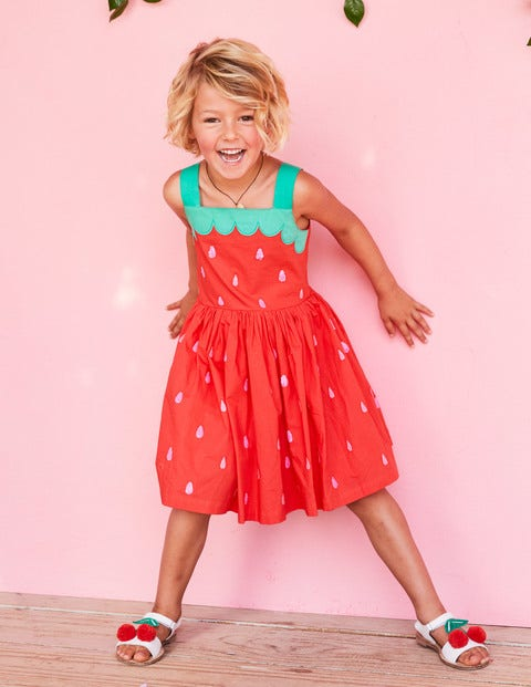 Fun Applique Woven Dress - Strawberry Tart Red