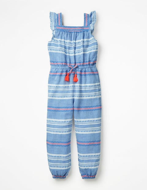 Frill Sleeve Woven Jumpsuit - Blue Dobby Stripe