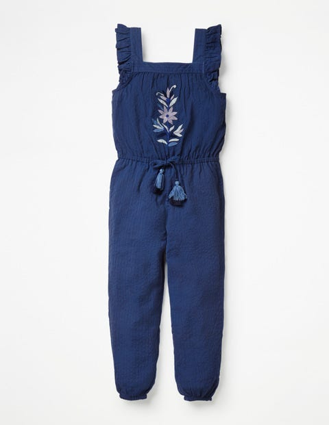 Frill Sleeve Woven Jumpsuit - Navy Embroidery