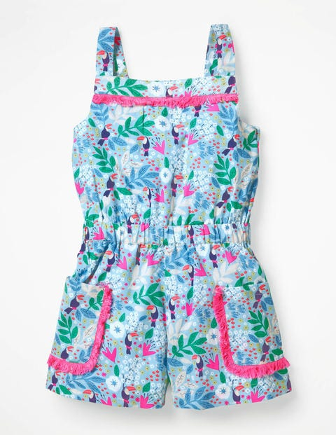 Printed Woven Pocket Romper - Blue Quartz Toucan Garden