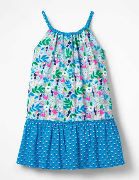 Strappy Hotchpotch Dress - Blue Quartz Toucan Garden