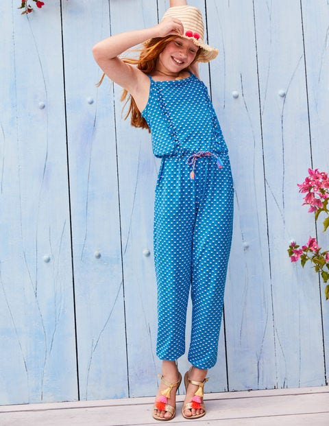 Frill Jersey Jumpsuit - Atomic Blue Bud