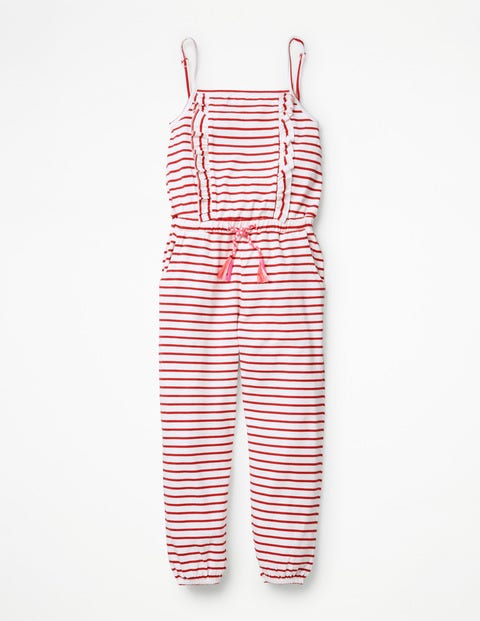 Frill Jersey Jumpsuit - White/Strawberry Tart Red