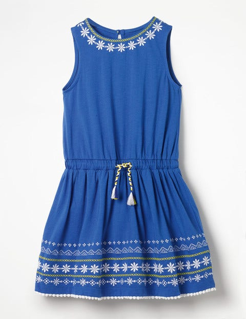 Embroidered Tie-Waist Dress - Duke Blue