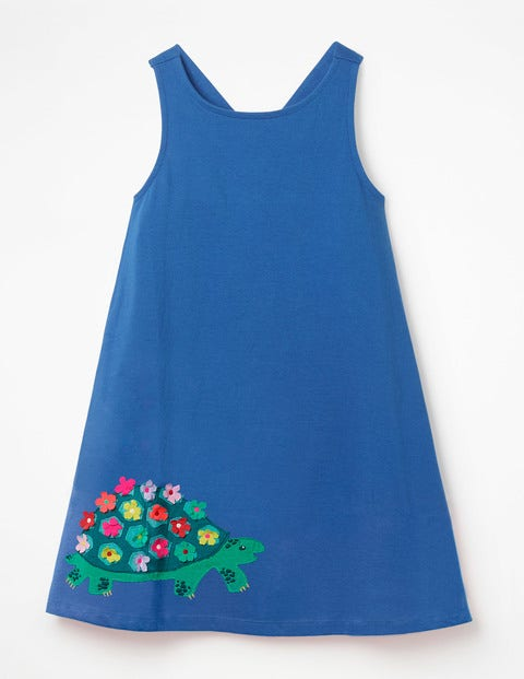 Cross-Back Appliqué Dress - Duke Blue Tortoise