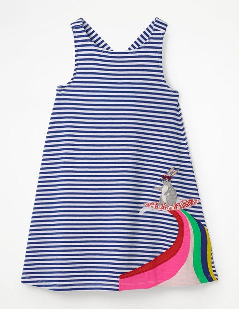 Cross-Back Appliqué Dress - White/Blue Wave Surf Bunny