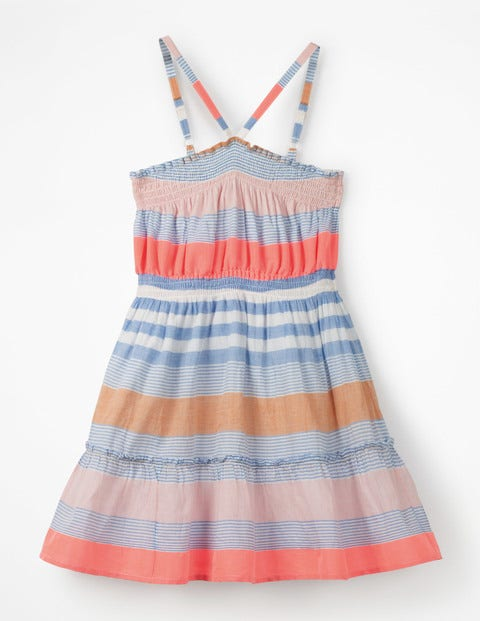 Strappy Smocked Midi Dress - Blue Multistripe